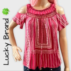 Lucky Brand red & white cold shoulder peasant top